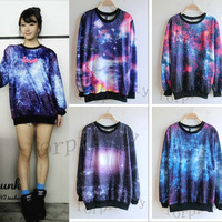 Women&#x27;s Galaxy Space Starry Print long Sleeve Top Round T Shirt