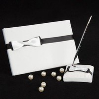 black & white wedding Gästebuch und Pen-Set - US$15.37