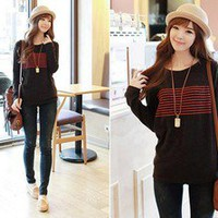 Korean Fashion Stripe Print T-SHIRT #1046 Lady Long Sleeve Casual Tee Tops
