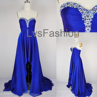 A Line Strapless Sweetheart With Crystal Front Short Long Back Chiffon Prom Dresses, Evening Gown, Evening Dresses, Party Dresses