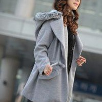 Polish Mature Charming Ladies Hooded Coats Grey_F/W Coats_Wholesale - Wholesale Clothing, Wholesale Shoes, Bags, Jewelry, Wholesale Fashion Apparel & Accessories Online