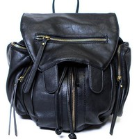 Zipped Up Leather Knapsack