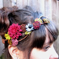 $32.00 Floral Headwrap  Vintage Bohemian Suffolk And by BloomDesignStudio