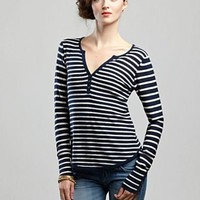 Striped Henley Sweater - Sweaters - Lucky Brand Jeans