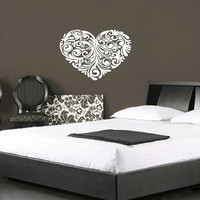 "Wall Decal Heart Floral Baroque Valentine Vinyl Wall Decal 22""W x15.5""H 22244"