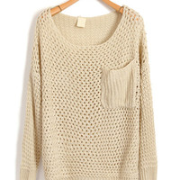 Oversized Big Pocket Sweater Knitwear with Chunky Knit