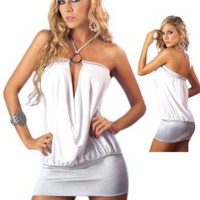 Amazon.com: Sexy White Halter Neckline Club Dress: Clothing