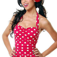 Vintage Inspired Swimsuit 50's Style Pin Up Red With White Polka Dot Bathing Suit - 6-16 - Unique Vintage - Cocktail, Evening  Pinup Dresses