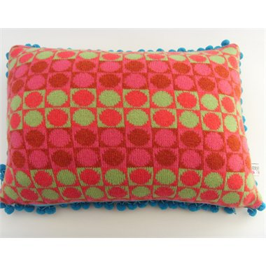 'Card' pink/green oblong cushion by Deryn Relph at Seek & Adore
