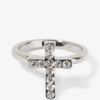 Rhinestoned Mini Cross Ring | FOREVER 21 - 1027705032