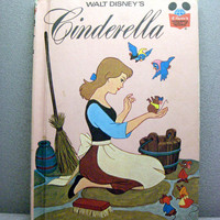 1974 Disneys Cinderella Vintage Disney Book by VintageWoods