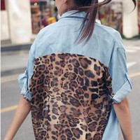 Denim Leopard Button up blouse from ♦STREETCARPET♦
