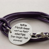 FRIENDSHIP bracelet ... sterling silver/leather ... BFF inspirational quote leather bracelet ... Winnie the Pooh ... LOVE bracelet