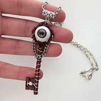 Ojo de Bruja - Witch's Eye - Red, Purple, and Silver Key Neckalce