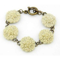# Free Shipping # Beige Petal Alloy Bracelet HSP44120 from ViwaFashion