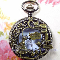 Alice in wonderland pocket watch necklace with antique brass rabbit pendant