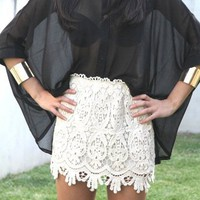 SABO SKIRT  Lace Skirt - Cream - $48.00