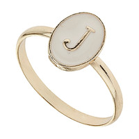 Enamel J Initial Ring - Jewelry - Accessories - Topshop USA