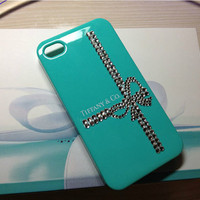 Sale Bling Swarovski Crystal iPhone case Rhinestone Tiffany Inspired iPhone Case iPhone 4 case iPhone 4s cases Tiffany Blue iPhone Case