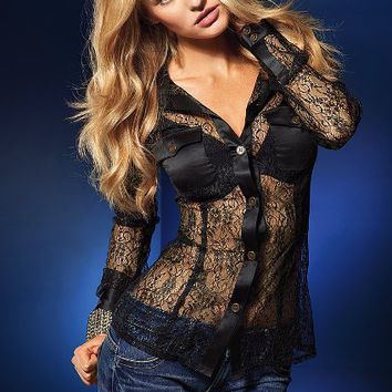 Lace Button-up Blouse - Victoria's Secret