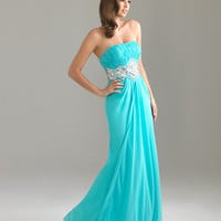 Aqua Gathered Beaded Chiffon Empire Waist Strapless Prom Dress - Unique Vintage - Cocktail, Pinup, Holiday &amp; Prom Dresses.