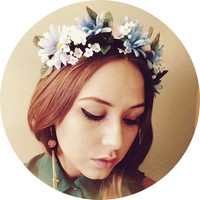 Beautiful handcrafted floral headband Lana Del Ray inspired