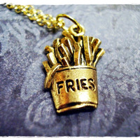 Tiny French Fries Charm Necklace in Antique Gold Pewter with a Delicate 18 Inch Gold Plated Cable Chain