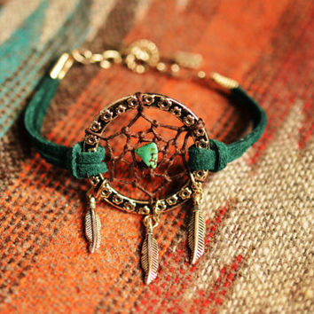 NEW Color Peacock Green Suede Dreamcatcher Bracelet or Anklet Made to Order