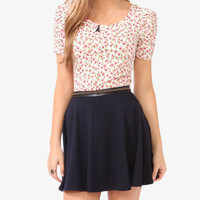 Ruched Sleeve Floral Top