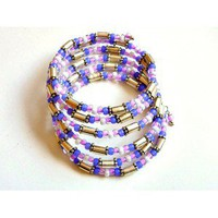 Cuff Bracelet in Lilac and Silver Beads - D'Zign Jewelry