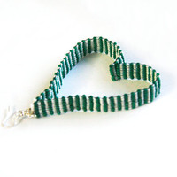 Long and flat BRICK peyote stitched delica seed beadgreen white earrings.