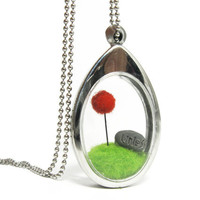 Terrarium Lorax Locket, Pom Pom Red Truffula Tree on Green Grass Hill Needle Felted with Unless Rock, Silver Finish Fun Gift Idea
