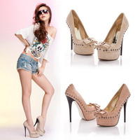 2012 New Women Fashion High Heels Stiletto Platform Studded Bowknot Pumps Shoes