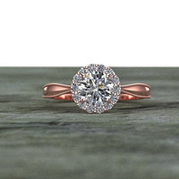 Diamond Halo Heart Basket Engagement Ring 14K Rose Gold