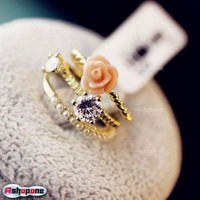 $0.99 Pearls Flower Crystal Rhinestone stacked Rings
