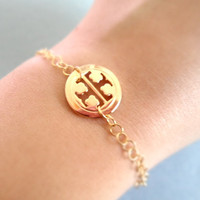 Tory Burch Round TT Gold Plated Bracelet by Simplecrystal on Etsy