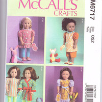 New McCalls Pattern doll clothes for 18 inch dolls American Girl dress leggings shorts night gown robe slippers toys sleep mask