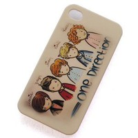 British-irish Boy Band One Direction 1d Cartoon Pattern Plastic Hard Rubber Protective Case Cover for Apple Iphone 4 4g 4s: Cell Phones & Accessories