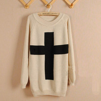 Beige Cross long Sleeve Sweater  from Showmall