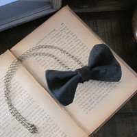 Tuxedo Bow tie necklace  Dapper black bowtie made from by Minxshop