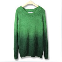 Green Gradient Round Neck Long Sleeve Sweater