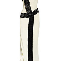 Amanda Wakeley | Bead-trimmed silk-cady one-shoulder gown | NET-A-PORTER.COM