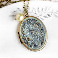 Antique Locket Jewelry Patina Locket Big Locket Long Pendant Jewelry Boho