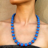 Blue Wooden Beaded Necklace with Red Faceted Glass by LeiliDesign