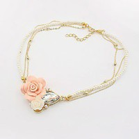 Pink Flower Faux Pearl Bib Lady's Necklace