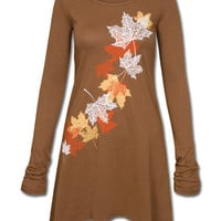 Autumn Leaves Organic Tunic Dress: Soul-Flower Online Store