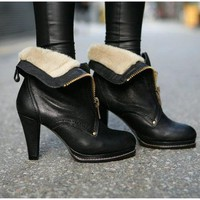2way Fashion Women Shoes Black Brown Chunky High Heel Platform Fur Ankle Boots