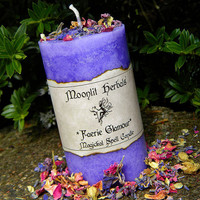 Faerie Glamour Magickal Spell Candle - Garden Blessing, Communing With Nature Spirits, Faerie Sight, Offering to the Fae and Glamoury Spells