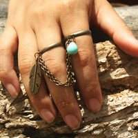 Ring Bohemian Boho Two Finger Ring Feather Turquoise Charm Bronze Chain Drape Jewelry