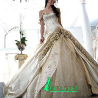 New A-line Sweatheart Train Champagne Wedding Dress Evening Gown Size 8-16